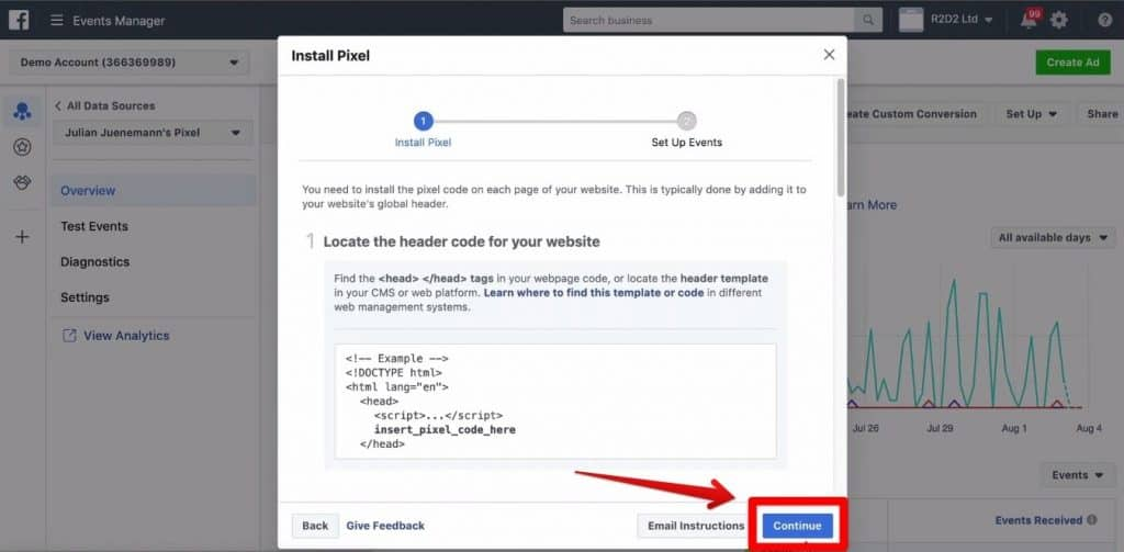 Screenshot of the Continue button being clicked on the Install Pixel window