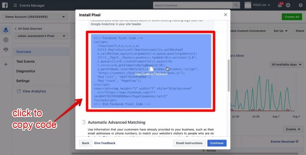 Screenshot of the pixel code being clicked to be copied