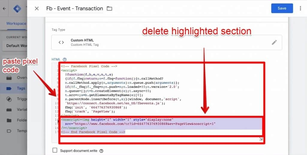 Screenshot of the pixel code being pasted into the HTML window of Google Tag Manager