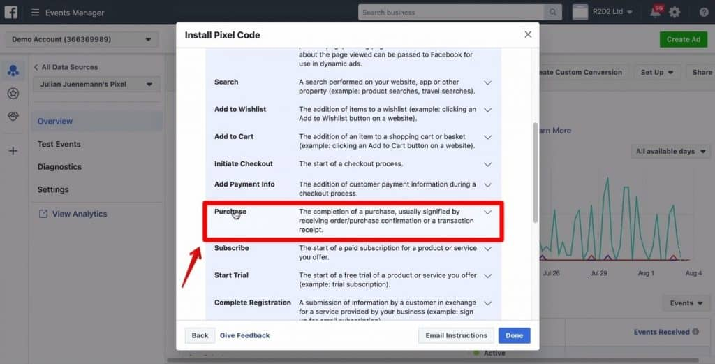 Screenshot of the Purchase section being clicked on the Install Pixel Code window