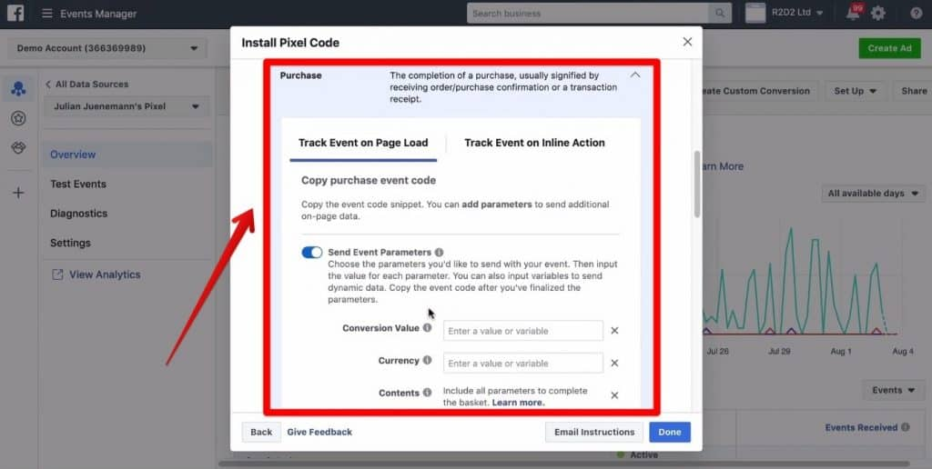 Screenshot of the Purchase section of the Install Pixel Code being shown