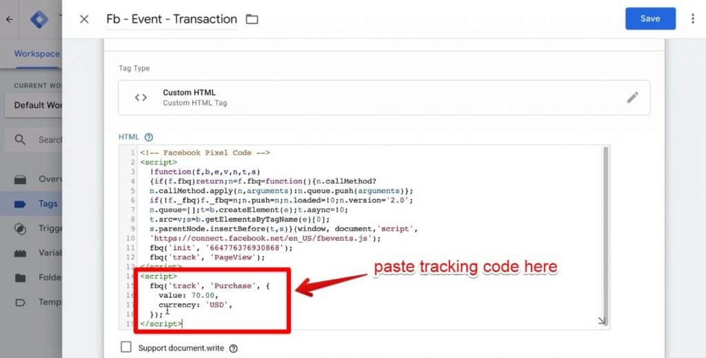 Screenshot of the tracking code being pasted into the Google Tag Manager