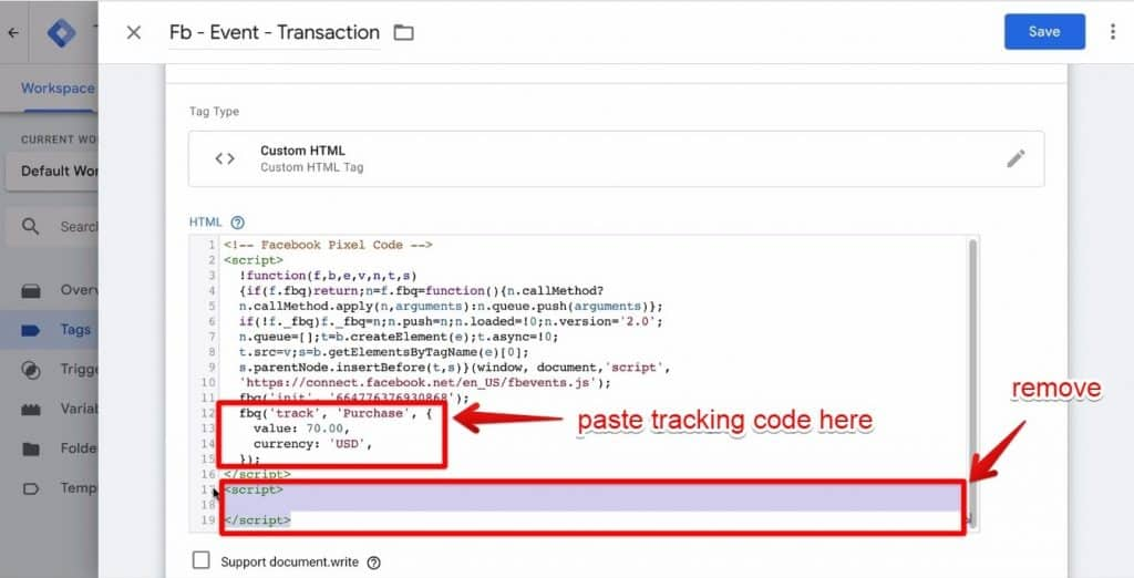 Screenshot of the tracking code pasted in the Facebook tracking code section and the <script> </script> codes being removed from the HTML window