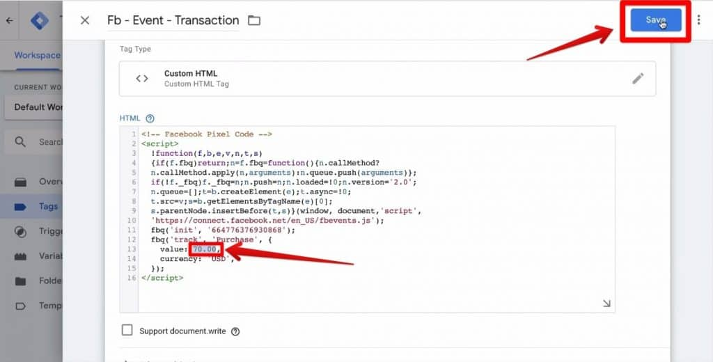 Screenshot of the Facebook tracking code being highlighted and the Save button being clicked