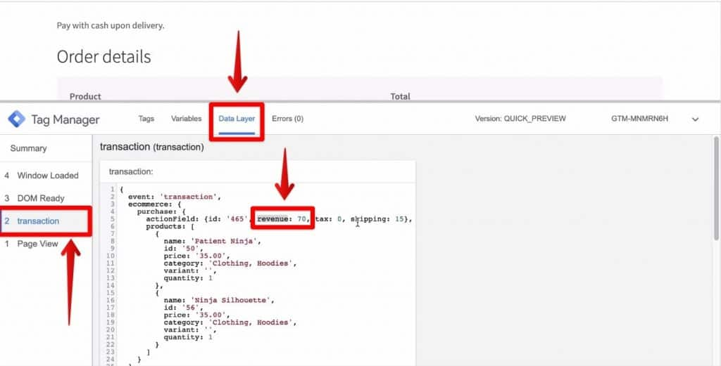Screenshot of the transaction button and the Data Layer section being clicked on along with the revenue value being highlighted on Google Tag Manager