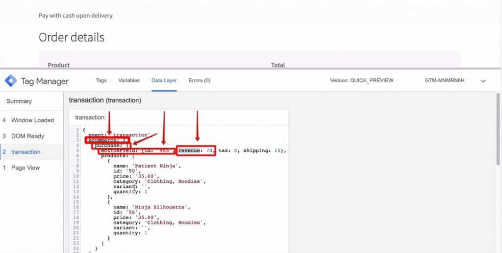 Screenshot of the ecommerce key, purchase key, actionField, and revenue values being highlighted on Google Tag Manager