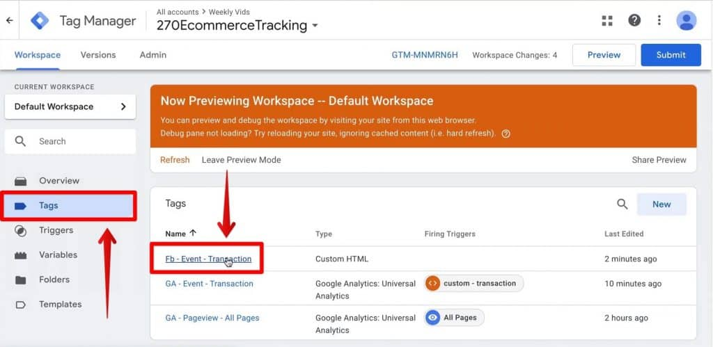 Screenshot of the Tags event and the Fb - Event - Transaction tag being clicked on Google Tag Manager