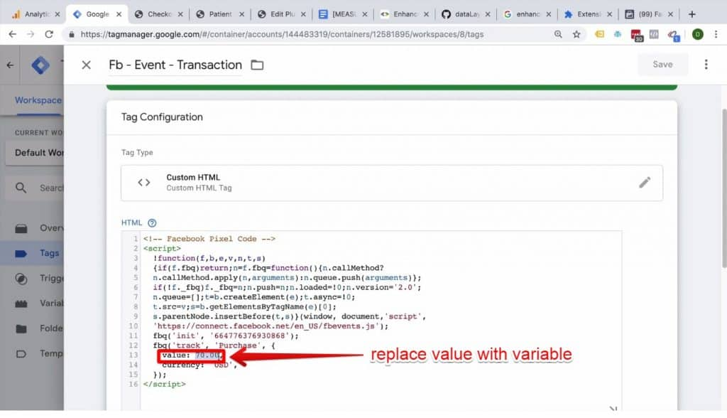 Screenshot of the value variable being highlighted in Google Tag Manager