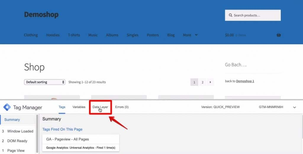Screenshot of the Data Layer section being clicked on