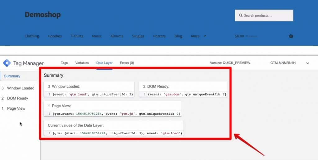 Screenshot of the data pushed to the Data Layer in Google Tag Manager