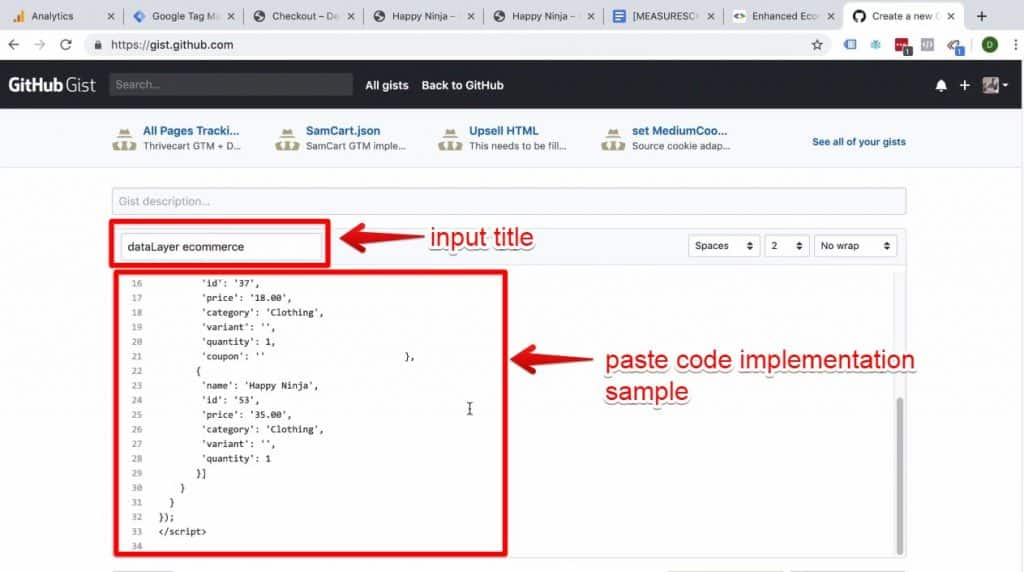 Screenshot of the code title being input into GitHub and the code implementation sample being pasted into GitHub