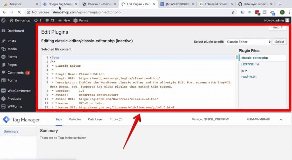 Screenshot of the Plugin Editor screen on Demoshop's WordPress backend