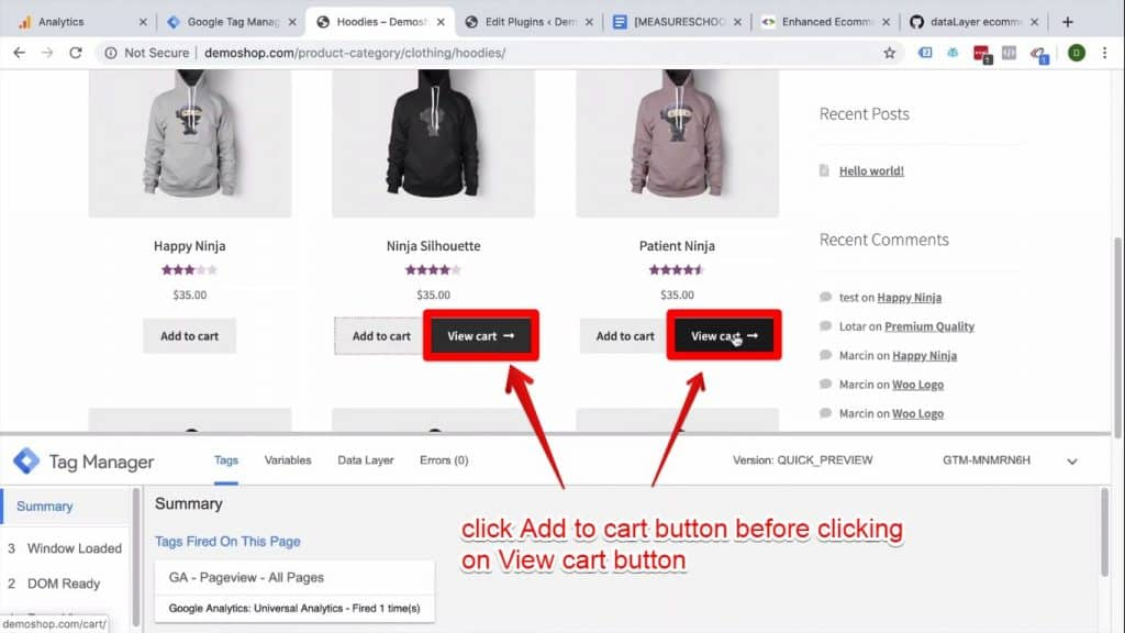 Screenshot of the Add to cart and View cart buttons being clicked on