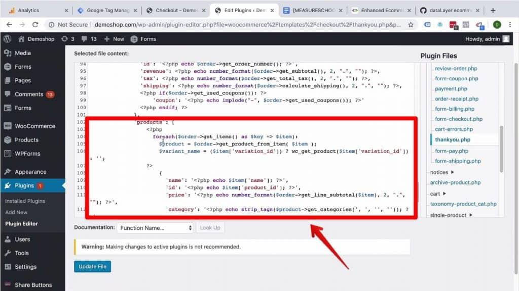 Screenshot of the newly pasted products code being mentioned