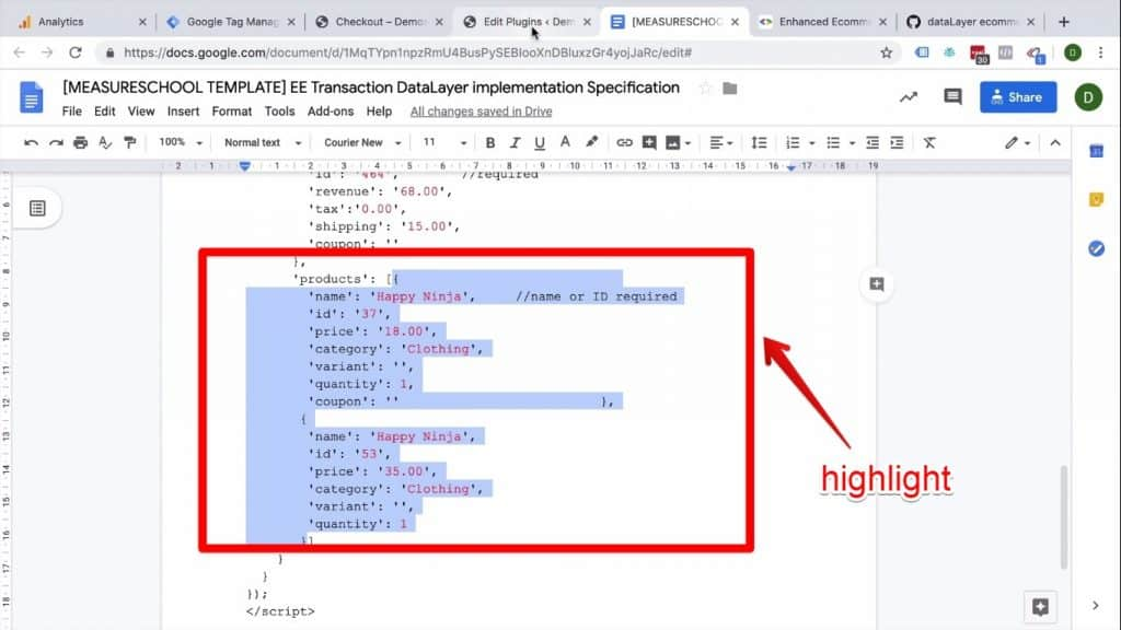 Screenshot of the products code being highlighted on the Enhanced Ecommerce Transaction data implementation on Success page document