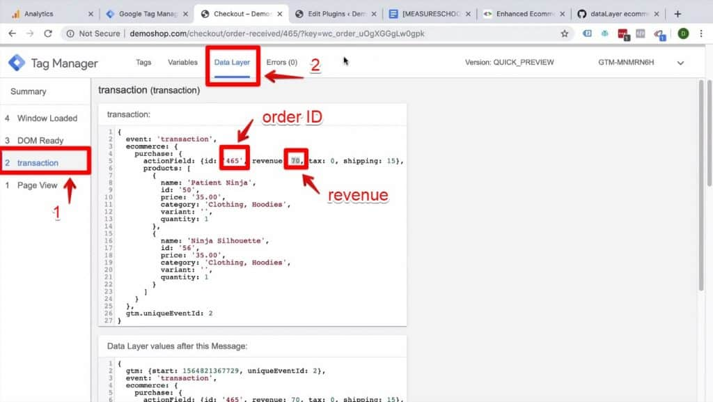 Screenshot of the transaction and Data Layer buttons being clicked on and the order ID and Revenue value being highlighted