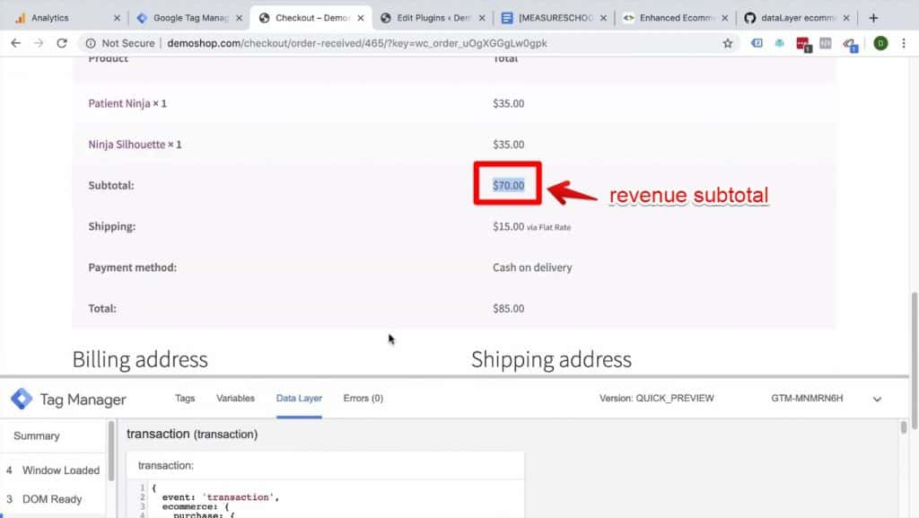 Screenshot of the revenue subtotal being highlighted