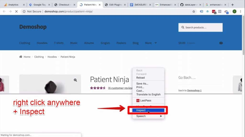 Screenshot of the the Patient Ninja webpage HTML about to be inspected