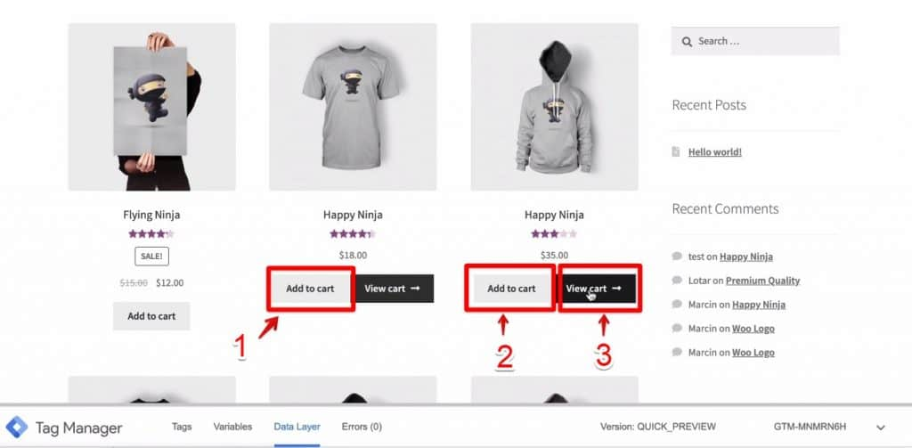 Screenshot of two Add to cart buttons and one View cart button being clicked on Demoshop