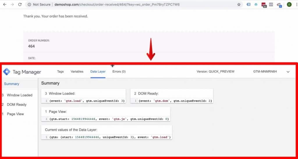 Screenshot showing the Data Layer tab in Google Tag Manager