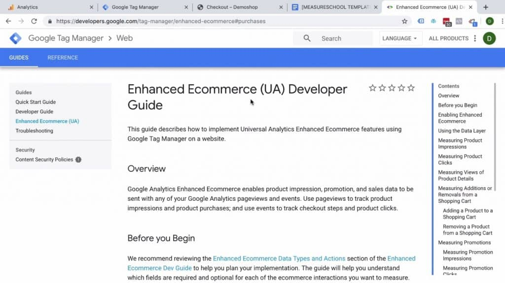 Screenshot showing the Enhanced Ecommerce (UA) Developer Guide section of Google Tag Manager