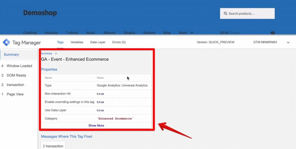 Screenshot of a Google Analytics event tag found in Demoshop's Google Tag Manager