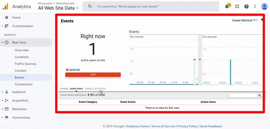 Screenshot of the Events section under the Real-time Reports section being clicked