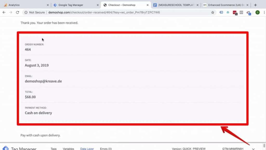 Screenshot showing the Order details in Demoshop