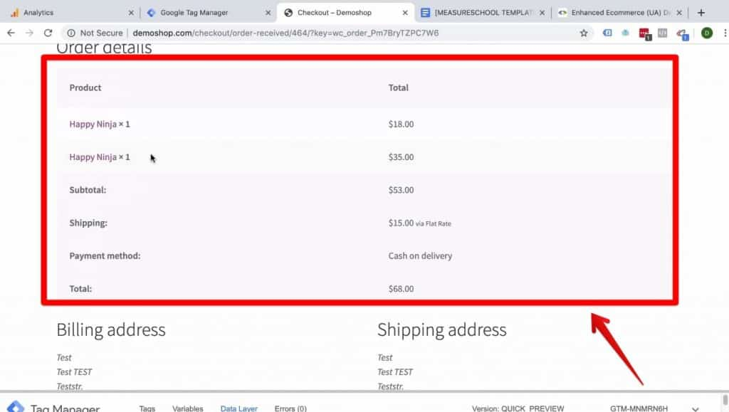Screenshot showing the Order details and the Billing and Shipping addresses  in Demoshop