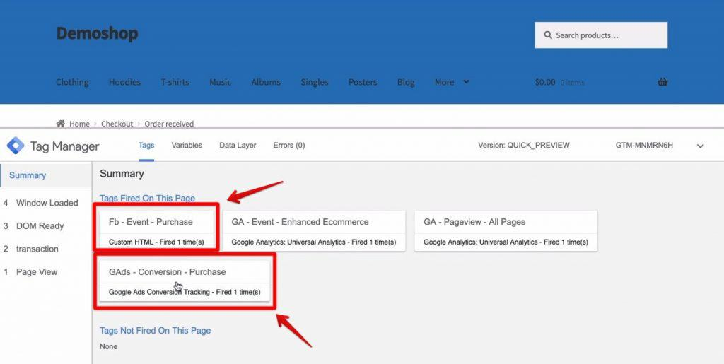 Screenshot of the Facebook Purchase Event and the Google Ads Purchase Event being displayed as the fired tags on Google Tag Manager