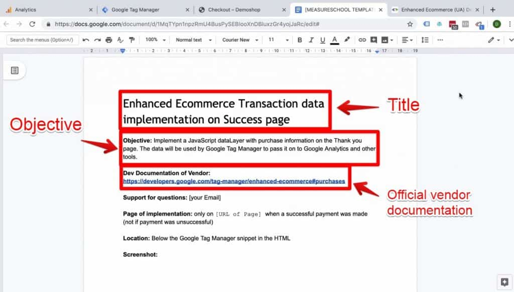 Screenshot of the title, objective, and official vendor documentation on the Enhanced Ecommerce Transaction data implementation on Success page document