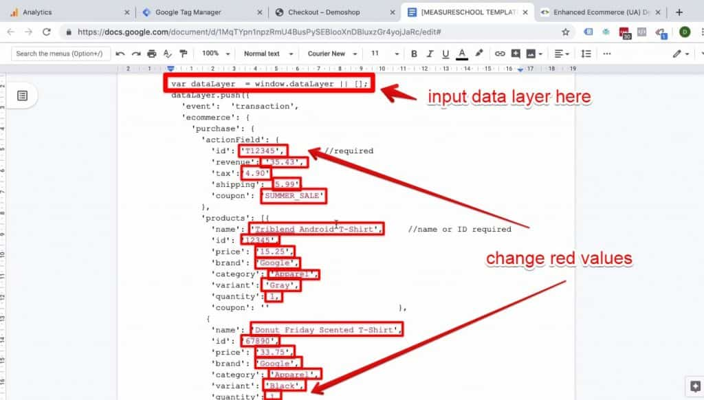 Screenshot depicting where to add the data layer and the values in red that need to be changed in the Enhanced Ecommerce Transaction data implementation on Success page document