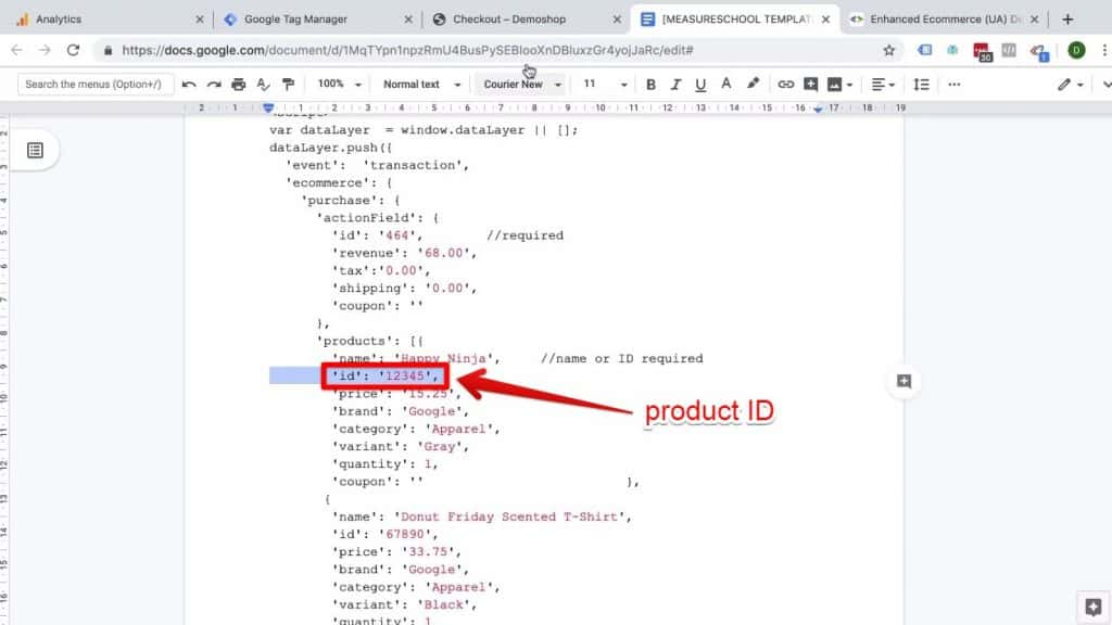 Screenshot of the product ID in the Code Implementation example being highlighted