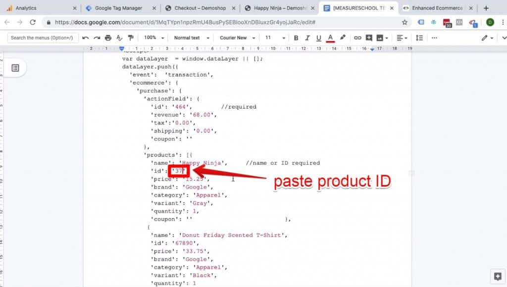 Screenshot of the product ID being pasted into the Enhanced Ecommerce Transaction data implementation on Success page document