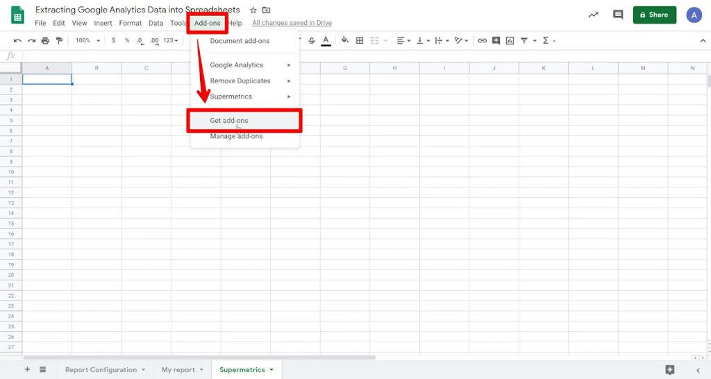 Empty Google Sheet with Add-ons button and Get add-ons option highlighted