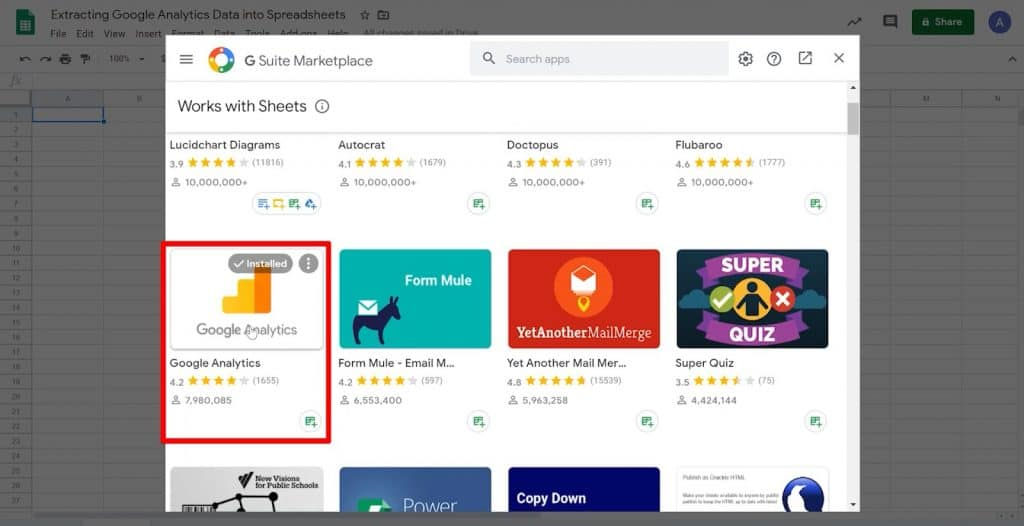 G Suite Marketplace with Google Analytics add-on highlighted
