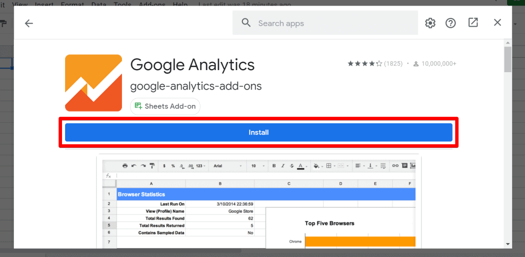 Google Analytics add-on for Sheets with Install button highlighted