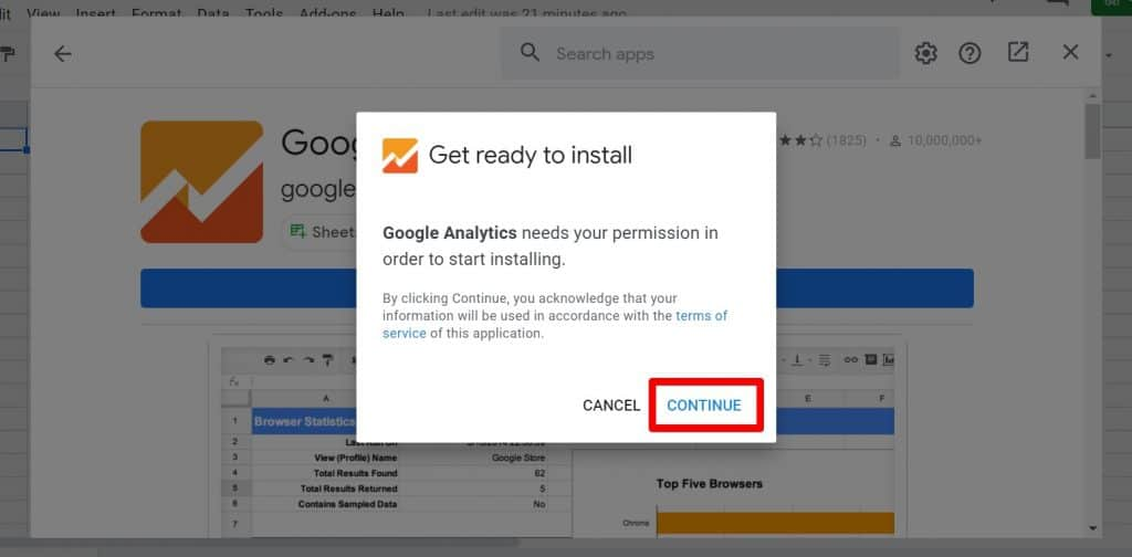 Google Analytics install permission popup with Continue button highlighted