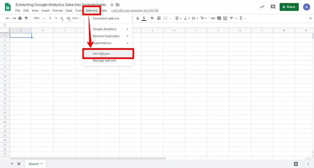 Google Sheet with Add-ons button and Get add-ons option highlighted