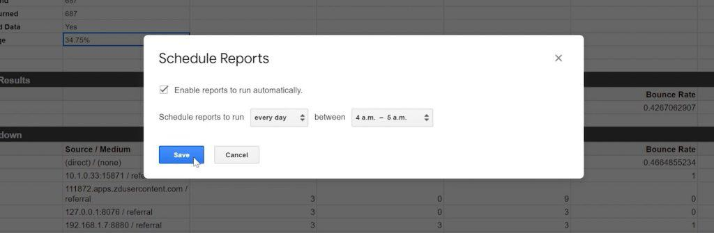 Google Sheets Schedule Reports popup wit Enable resorts to run automatically box checked