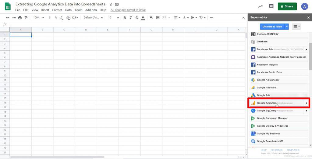 Google Sheets Supermetrics sidebar with Google Analytics data source highlighted