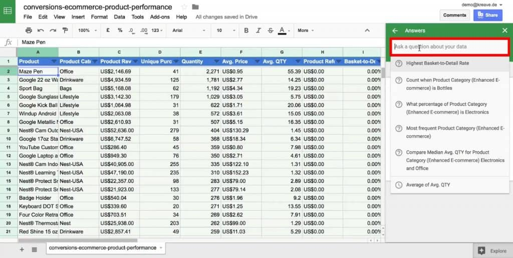 Ask a question about your data under the Explore option of Google Sheets