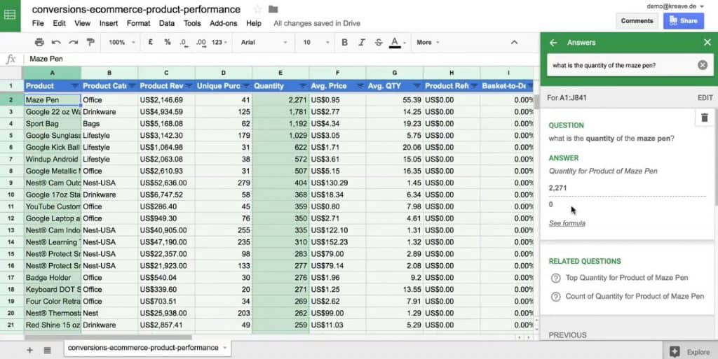 Asking the quantity of a product under the Explore option of Google Sheets