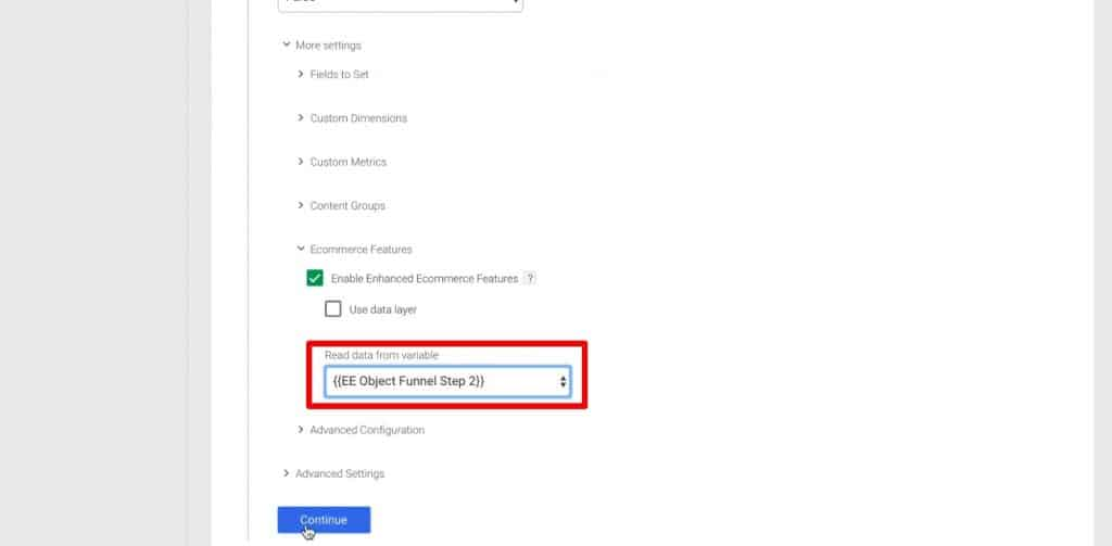 Building Tag for Step 1 of the funnel in Google Tag Manager