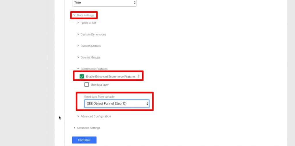 Building Tag for funnel Step 1 in Google Tag Manager