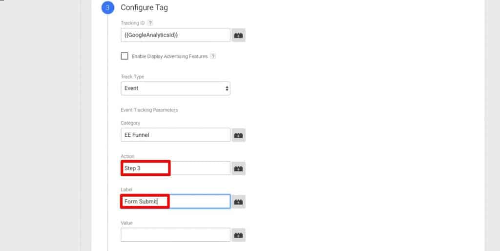Changing Action and Label under Configure Tag in Google Tag Manager