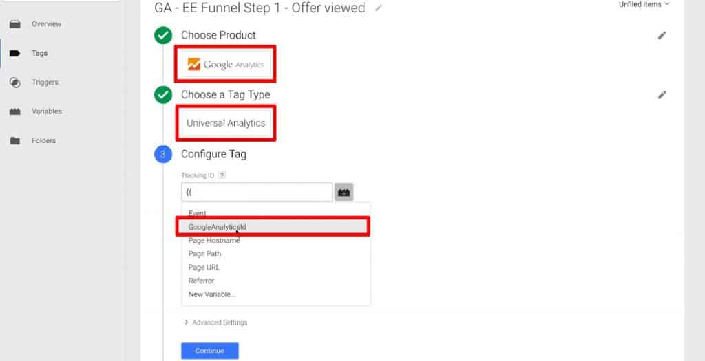 Choosing Product, Tag Type, and Tracking ID of a Tag in Google Tag Manager