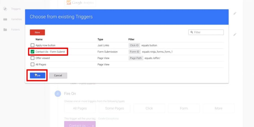 Choosing a trigger under Fire On in Google Tag Manager
