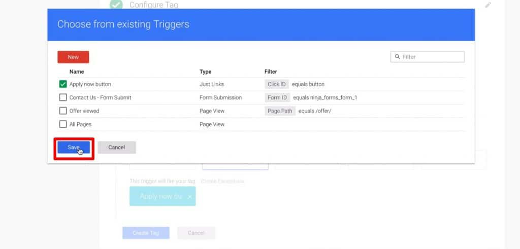 Choosing from existing Triggers in Google Tag Manager