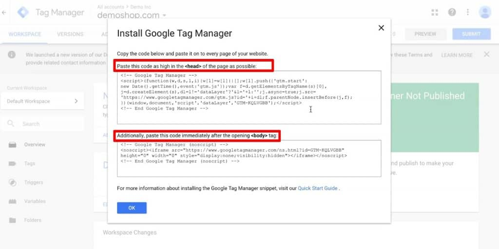 Code snippet to be pasted in the head and body section of your website